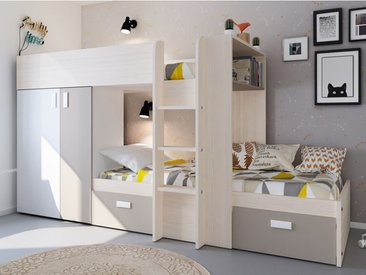 Lits superposés JULIEN - 2x90x190cm - Armoire intégrée - Blanc et taupe