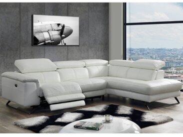 Canapé d'angle relax électrique en cuir avec têtières BREYT - Blanc - Angle droit
