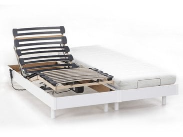 Ensemble relaxation mémoire forme NIGHT de DREAMEA - 2x90x200cm - blanc