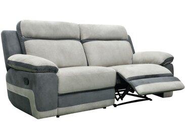 Canapé 3 places relax en microfibre TALCA - Gris clair et anthracite