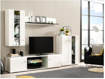 Mur TV LORETTA avec rangements - LEDs - Coloris Blanc