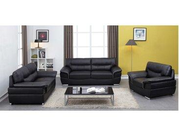 Canapé 3+2+1 places en cuir THIBAULT - Noir