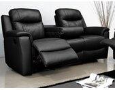 Canapé 3 places relax EVASION en cuir - Noir