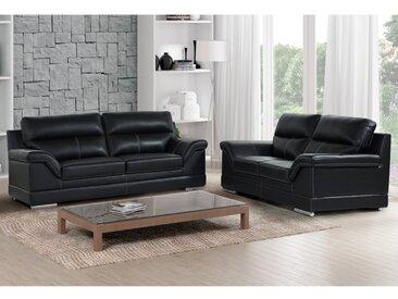 Canapé 3+2 places en cuir de buffle MONIKA - Noir