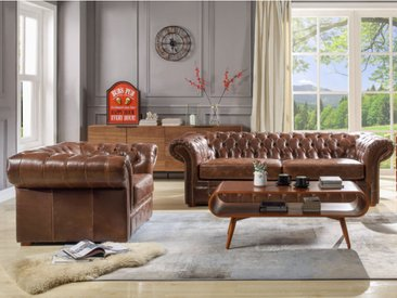 Canapé et fauteuil chesterfield CLOTAIRE 100% cuir vieilli