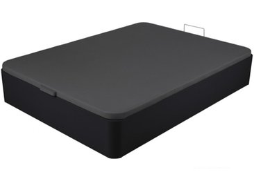 Sommier coffre ONIRY en simili de DREAMEA Play - 140 x 190 cm - Noir mat