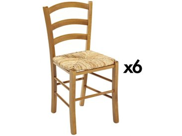 Lot de 6 chaises PAYSANNE - Hêtre massif teinté chêne, paille de riz