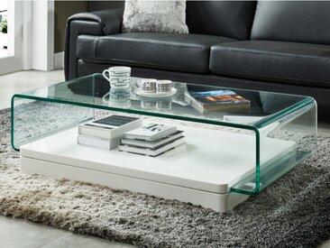 Table basse GLOSSIE - Verre courbé & MDF laqué blanc