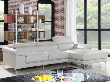Canapé d'angle en cuir SOLANGE - Blanc - Angle droit