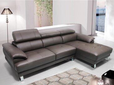 Canapé d'angle en cuir EXCELSIOR II - Marron - Angle droit