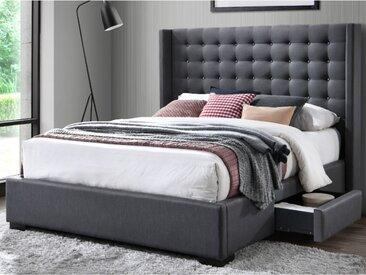 Lit LEONCE tête de lit capitonnée - Avec tiroirs - 160x200cm - Tissu Gris