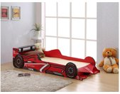 Lit voiture FORMULE 1 - 90 x 190 cm - MDF rouge - LEDs + matelas