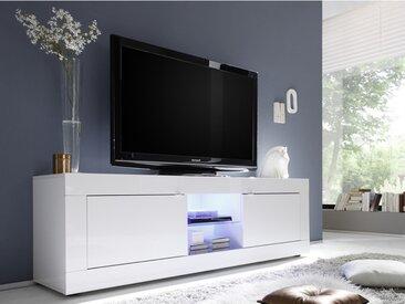 Meuble TV COMETE - LEDs - 2 portes - Blanc laqué