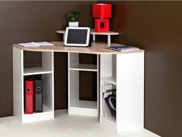 Bureau d'angle avec étagères FIDUCIA - Coloris blanc & chêne