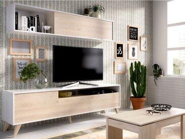 Mur TV ALBORA - Avec rangements - Coloris : Blanc & chêne