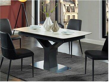 Table à manger extensible COLBY - 6 à 8 couverts - Céramique & Verre trempé