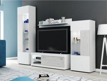Mur TV COURTNEY avec rangements - LEDs - Blanc avec portes aspect béton