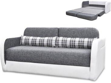 Canapé 2 places convertible déplimousse en tissu et simili VILO - Blanc et gris