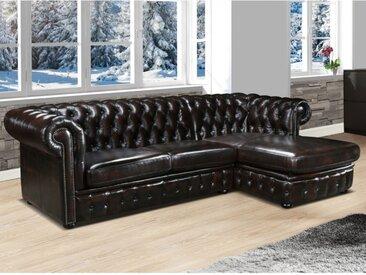 Canapé d'angle chesterfield BRENTON 100% cuir de buffle - Marron reflets châtains - Angle droit