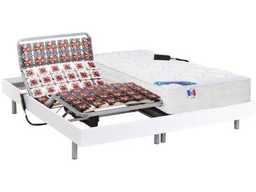 Lit électrique relaxation tout plots matelas ressorts ensachés et mémoire forme PHANES de DREAMEA - moteurs OKIN - Blanc - 2 x 90 x 200 cm