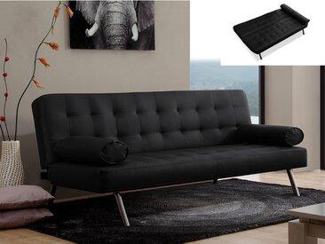 Canapé clic-clac MICHELLE en simili - Noir