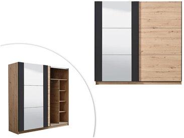 Armoire 2 portes coulissantes PHILADELPHIE - Avec Miroir - L.217cm - Coloris : chêne et noir