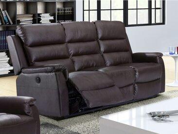 Canapé 3 places relax électrique en croûte de cuir TRIVENTO - Chocolat