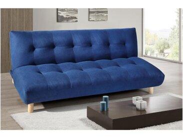 Canapé clic-clac 3 places en tissu VINCENT II - Bleu