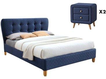 Pack CHAMBRE ELIDE - lit 140x190cm et ses 2 chevets - Tissu bleu