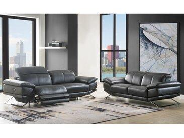 Canapé 3 places relax électrique en cuir PUNO - Noir