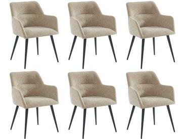 Lot de 6 chaises HEKA - Avec accoudoirs - Tissu et métal - Beige