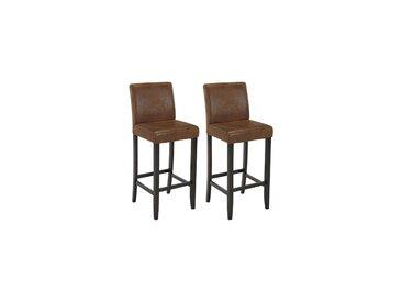 Lot de 2 tabourets de bar SANTOS - Microfibre aspect cuir vieilli - Pieds bois foncé