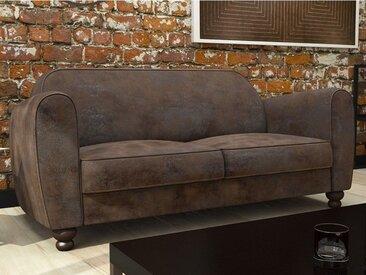 Canapé 2 places club en microfibre effet cuir vieilli MADIE