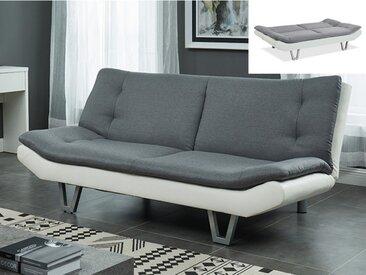Canapé convertible clic clac en tissu UDARA -  Gris et blanc