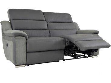 Canapé 3 places relax électrique en cuir et microfibre ARENA II - Gris/taupe