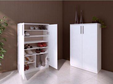 Meuble à chaussures MATHIAS - 2 portes - Blanc