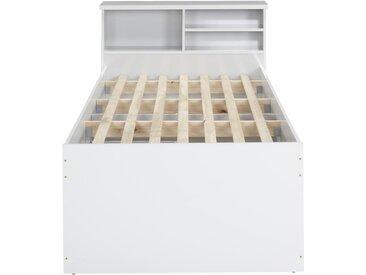 Lit BORIS avec tiroirs et rangements - coloris : blanc - 90 x 190 cm