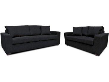 Canapé 3+2 places en tissu YUDO - Noir