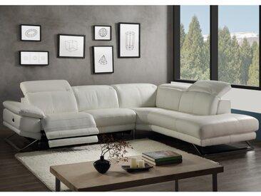 Canapé d'angle relax électrique en cuir PUNO - Blanc - Angle droit