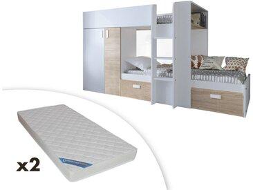 Lits superposés JULIEN - 2x90x190cm - Armoire intégrée - Blanc et chêne + 2 matelas ZEUS 90x190