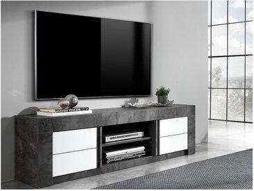 Meuble TV ESSIA - 2 portes et 2 niches - Aspect ardoise et blanc laqué