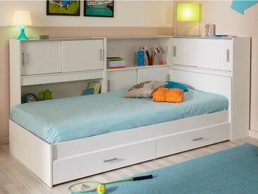 Lit BASILE avec rangements et 2 tiroirs - modulable 90 x 190cm ou 90 x 200 cm - Blanc
