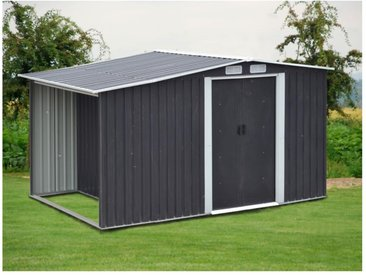 Abri de jardin en acier galvanisé gris LERY - 6m²