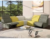 Grand canapé d'angle relax symétrique modulable en tissu SYMPOSION - 5 modules - Anthracite, jaune et gris chiné