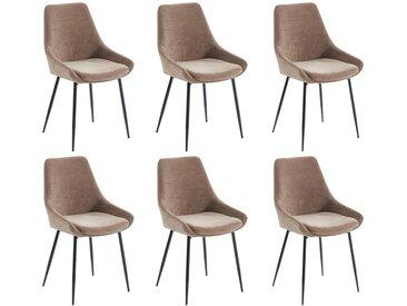 Lot de 6 chaises MASURIE - Tissu - Beige