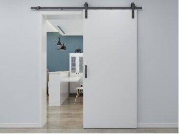 Porte coulissante en applique VARIN - H205cm x L83cm - MDF + PVC Blanc