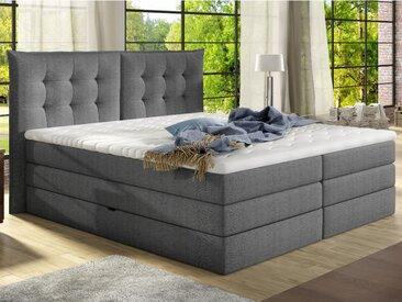 Ensemble boxspring tête de lit + sommiers coffre + matelas + surmatelas PLAISIR de PALACIO - tissu gris -  160 x 200 cm