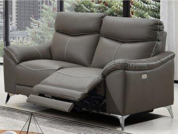 Canapé 2 places relax électrique en cuir METRONOMY - Taupe