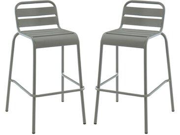 Lot de 2 chaises de bar de jardin empilables MIRMANDE en métal - Gris
