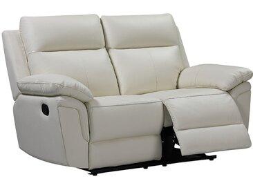 Canapé 2 places relax en cuir de buffle PAKITA - Ivoire